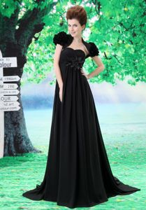 Sweetheart Black Maxi Prom Dress with Handmade Flower in North Carolina