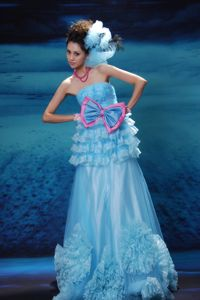 Design Your Own Special Long Prom Dress with Bowknot in Aqua Blue