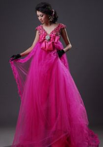 Discount V-neck Beaded Fuchsia Senior Prom Dress with Long Puffy Hem