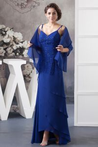 Elegant Spaghetti Straps Beaded Royal Blue Long Dress for Prom in Fashion