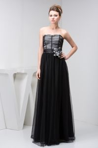 Free Shipping Simple Style Tulle Column Black Long Prom Dress with Flower