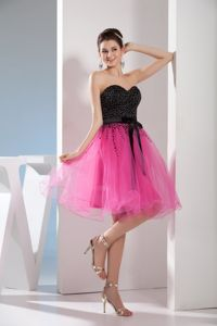 Puffy Beaded Fuchsia and Black Backless Short Dress for Prom Wholesale