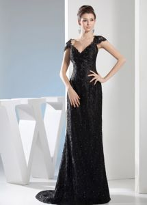 Popular Sweep Train V-neck Black Lace Prom Dress in Bethany OK