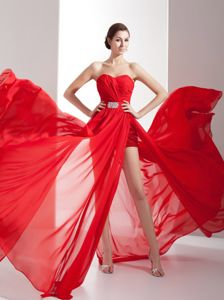 Fabulous Chiffon Chapel Train Slitted Red Prom Dress Bartlesville USA