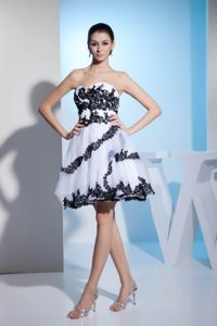 Puffy White Short Prom Dress with Black Appliques in Ardmore OK