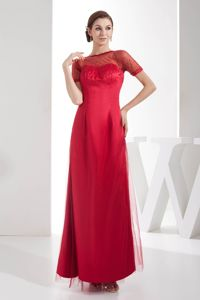 Red Long Prom Dress for Mother Of Bride with Sheer Short Sleeves in NC