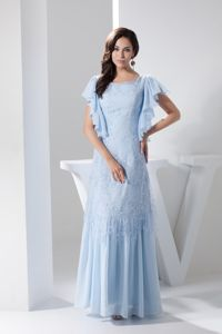 Plus Size Scoop Appliqued Light Blue Long Prom Dress with Flounced Short Sleeves