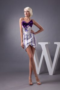 Asymmetrical Hem Printing Multi-color Mini Prom Dress with Bowknot