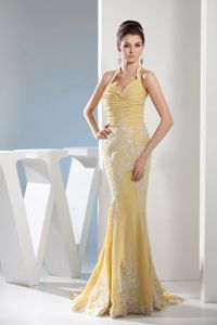 Chiffon Mermaid Halter Top Appliqued Yellow Prom Dress for Summer 2014