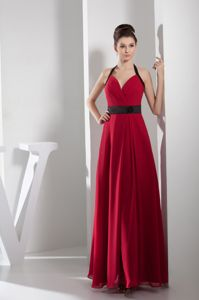 Chiffon Column Halter Top Red Long Prom Gown Dress in Burlington NC