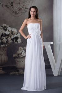 Strapless White Long Prom Dress for Summer with Flowers in Mandan ND