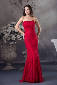 Most Popular Mermaid Red Formal Prom Dress with Embroidery Ellendale USA