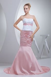 Mermaid White and Pink Prom Gown Dress for Short Girls in Wahpeton ND