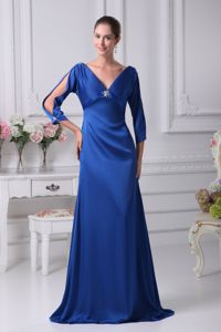 Elegant V-neck Blue Formal Prom Dress with 3/4 Open Sleeves in Jamestown ND
