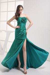 Clearance Ruched Slitted Green Prom Dress for Summer with Big Flower