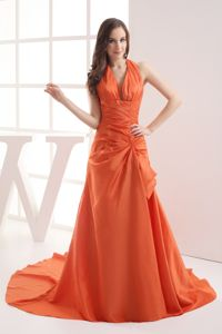 Halter Top Ruched Orange Prom Gown Court Train in North Carolina