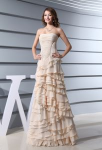 A-line Strapless Champagne Prom Dress for Summer with Ruffled Layers