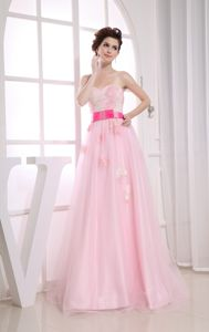 Pretty Baby Pink Appliqued Long Prom Dress with Belt in Banner Elk NC