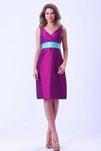 Free Shipping V-neck Zipper-up Purple Short Prom Outfits under 150
