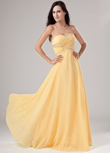 Free Shipping Sweetheart Beaded Maxi Prom Attire in Yellow on Promotion