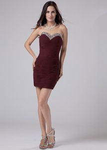 New Rust Red Mini Prom Dress with Beaded Sweetheart Neck in Amherst NH