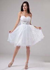 Wholesale Organza Lace-up White Puffy Short Prom Dresses with Rhinestones