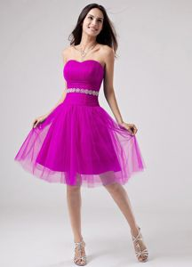 Plus Size Tulle Knee-length Fuchsia Short Prom Dress with Beads Online