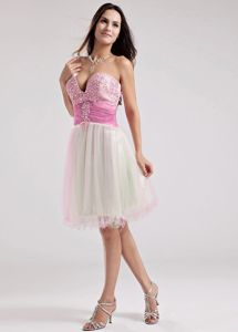 Sweetheart A-Line Organza Beaded Prom Dress in Muti-color in Houston