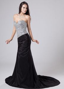 Beaded Sweetheart Strapless Prom Dress with Court Train in Black