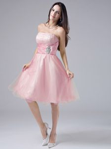 Peach Pink Sweet Prom Cocktail Dress with Beading and Ruches in Garland