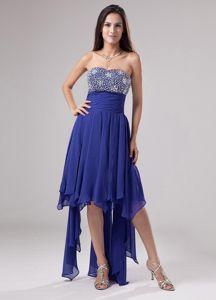 Blue Strapless Beaded Lovely Prom Dress with Ruches in Galveston