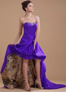 Purple High-low Sweetheart Beaded Prom Dress with Pick-ups in Dallas