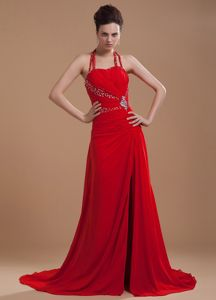 Beaded Halter Red Chiffon Informal Prom Dresses with High Slit in Carrollton