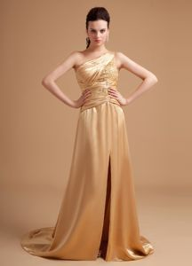 Beaded Champagne Prom Dress with High Slit and Brush Train in Austin