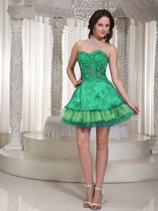 Sweetheart Green Beaded Prom Cocktail Dress in Mini-length in Beaumont
