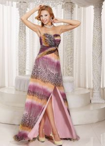 Muti-color Sweetheart Prom Dresses with High Slit and Watteau Train