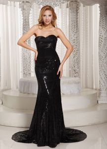 Sequined Sweetheart Prom Dress in Black with Court Train in Carrollton