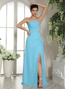 Ruched Appliqued Formal Prom Dresses with High Slit in Baby Blue