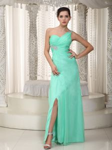 Apple Green One Shoulder Floor-length Prom Dresses with Beading