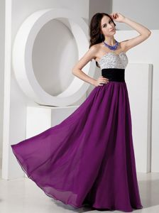Purple Sweetheart Prom Gown Dress in Chiffon with Beading in Houston