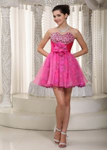 Hot Pink Sweetheart Short Beaded Prom Outfits with Hand Flowers