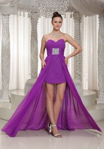 High-low Ruched Sweetheart Chiffon Prom Dress with Beading in Plano