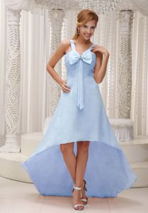 High-low Ruched Beaded Light Blue Dress for Prom with Bowknot