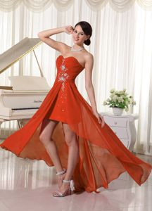 High-low Beaded Ruched Chiffon Prom Gown Dress in Orange Red