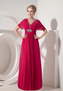 Coral Red V-neck Floor-length Chiffon Prom Dress with Beading in Austin