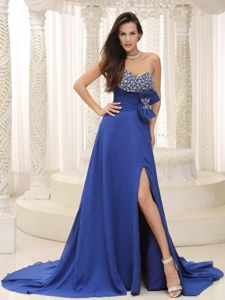 Beaded Prom Dress with Bowknot and High Slit in Peacock Blue in Denton