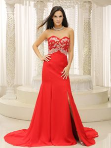 Sweetheart Appliqued Informal Prom Dress with High Slit in South Carolina