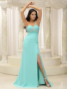 Beaded One Shoulder Ruched Formal Prom Dresses with High Slit in Garland