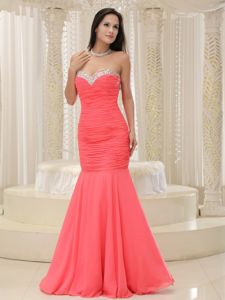 Mermaid Sweetheart Coral Red Prom Dress with Beading in Houston