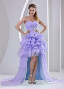 Lilac Organza High-low Ruffled Formal Prom Dresses with Beading